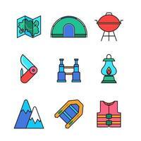 conjunto de ícones de kit de acampamento de verão vetor