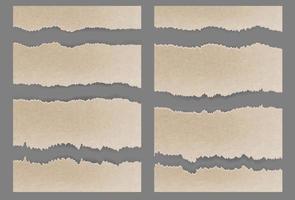 conjunto de papelão rasgado rasgado com textura vetor
