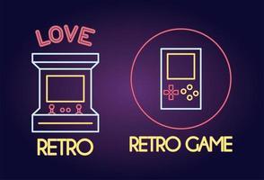 ícone de estilo neon de consoles de videogame vetor