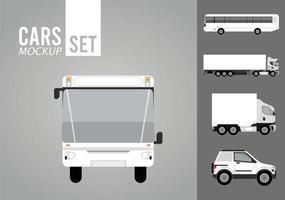 ônibus branco e conjunto de ícones de maquete de veículos vetor