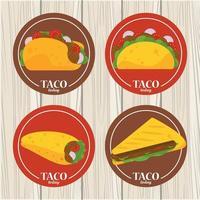 pôster mexicano de celebração do dia do taco com menu de tacos no fundo de madeira vetor