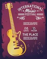 pôster do festival internacional de música com guitarra elétrica vetor