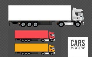definir cores caminhões maquete carros veículos ícones vetor