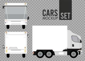 ônibus brancos e ícones de veículos de maquete de caminhão vetor