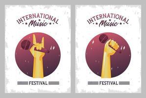 pôster do festival de música internacional com mãos levantando molduras de microfones vetor