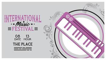 pôster do festival internacional de música com piano vetor