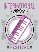 pôster do festival internacional de música com piano em fundo cinza vetor