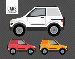 ícones de veículos de maquete de campistas vetor