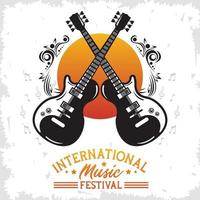 pôster do festival internacional de música com guitarras elétricas e letras vetor
