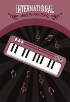 pôster do festival internacional de música com piano em fundo preto vetor