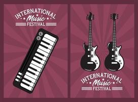 pôster do festival internacional de música com guitarras elétricas e piano vetor