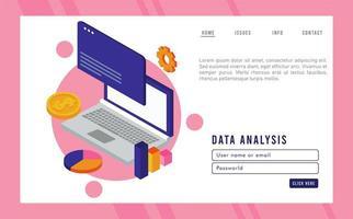 tecnologia de análise de dados com laptop e modelo de página da web vetor