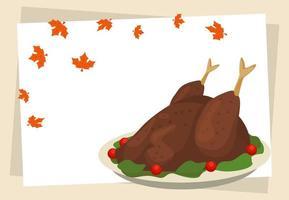 poster feliz dia de ação de graças com comida de peru e folhas vetor