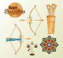 cartão de celebração dussehra feliz com ícones de conjunto de letras abd vetor