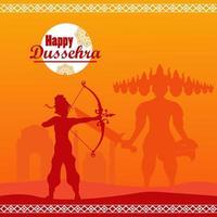 cartão de celebração dussehra feliz com deus rama shadow e ravana vetor