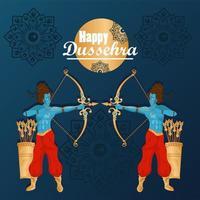 cartão de celebração dussehra feliz com ramma de deuses azuis vetor