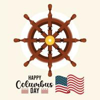feliz celebração do dia de colombo com leme e letras do navio vetor