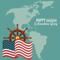 feliz celebração do dia de colombo com o leme do navio e o mapa do continente americano vetor