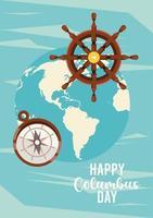 feliz celebração do dia de colombo com o leme do navio e o planeta Terra vetor