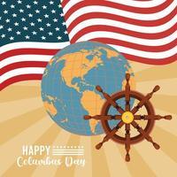 feliz celebração do dia de colombo com o leme do navio e a bandeira dos EUA vetor