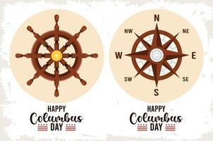feliz celebração do dia de colombo com leme de navio e guia de bússola vetor