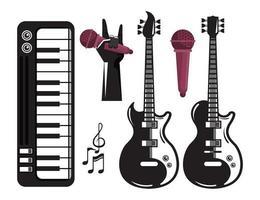 pôster do festival internacional de música com guitarras elétricas e conjunto de ícones vetor