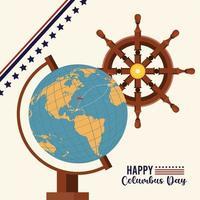 feliz celebração do dia de colombo com mapa-múndi e leme de navio vetor