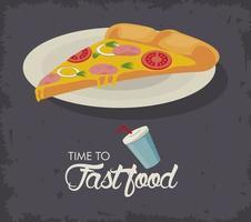 porção de pizza em prato fast food delicioso vetor