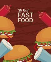 hambúrgueres e refrigerantes com ketchup delicioso ícone de fast food vetor