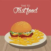 hambúrguer e batatas fritas em um prato delicioso de fast food vetor