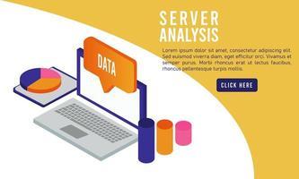 tecnologia de análise de dados com laptop e balão de fala vetor