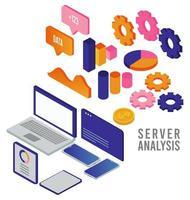 tecnologia de análise de dados com dispositivos digitais e infográfico de estatísticas vetor