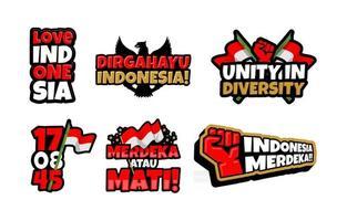 conjunto de adesivos do dia da independência da Indonésia vetor