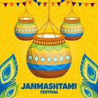 feliz conceito do festival janmashtami vetor
