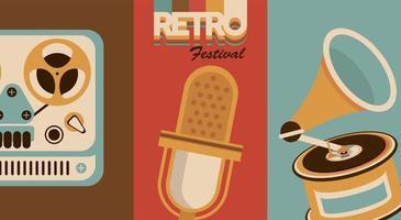 poster retro do festival de letras com ícones de áudio vetor