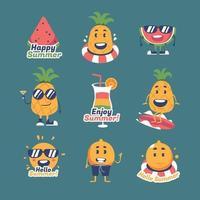 coleção de etiquetas e adesivos de frutas de verão vetor