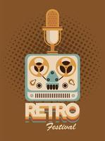 poster retro do festival de letras com projetor de videocassete e microfone vetor