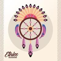 ícone do estilo boho da cultura étnica do apanhador de sonhos vetor
