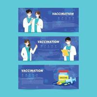 conjunto de faixa de vacinação com vírus corona vetor