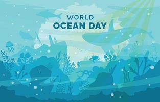 dia mundial do oceano submarino plano vetor