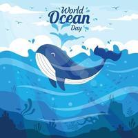 flat cartoon baleia dia mundial do oceano vetor