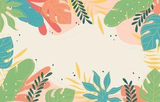 folhas e papel de parede floral de verão vetor