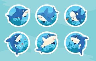 Conjunto de adesivos de tubarão bonito dos desenhos animados vetor