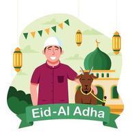 eid al adha dia com homem e ovelha vetor