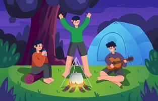 celebração de verão na selva com amigo vetor