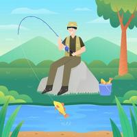 feliz férias de verão pescando vetor