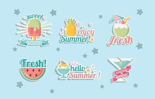adesivos de comida de verão vetor