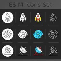 conjunto de ícones de tema escuro astronáutico vetor