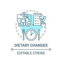 ícone de conceito azul de mudanças dietéticas vetor
