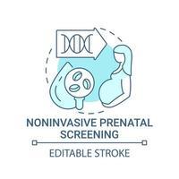 Ícone de conceito azul de rastreio pré-natal não invasivo vetor